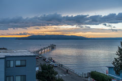 Des Moines Pier ηλιοβασίλεμα Στοκ Εικόνες