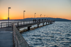 Des Moines Pier At Sunset royaltyfria bilder