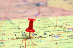 Des Moines pinned on a map of USA Stock Image