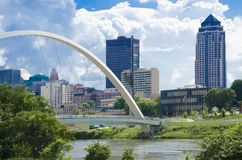 The Des Moines River Dam and downtown pedestrian bridge. In Des Moines, Iowa, USA with the city in the background stock image