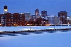Des Moines skyline. Across frozen river. Des Moines, Iowa, USA royalty free stock photography