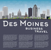 Des Moines Skyline with Grey Buildings, Blue Sky and copy space Royalty Free Stock Images