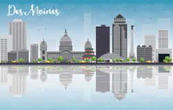 Des Moines Skyline with Grey Buildings and reflections Royalty Free Stock Images