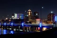 Des Moines Skyline met Orlando Tribute Stock Afbeelding