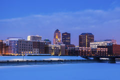 Des Moines skyline at sunrise. , Royalty Free Stock Images