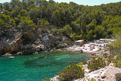 Des Moltons Cala, порт San Miguel, Ibiza Испания Стоковые Фотографии RF