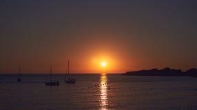 DES Moro de Calo durante la puesta del sol en Ibiza fotos de archivo