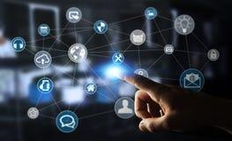 Des Multimedianetzes 3D des Geschäftsmannes rührende Wiedergabe Stockbilder