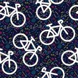 Des Muster-Entwurfs 80s des Fahrrades Retro- nahtlose Farbe Lizenzfreie Stockfotos