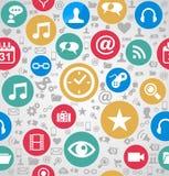 Des Muster-Hintergrundes EPS10 der bunten Social Media-Ikonen nahtlose FI Stockbild