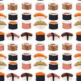 Des Musterhintergrundes des Sushirollensashimimeeresfrüchtefischreises Sojasoßen-Japan-Mahlzeit maki des nahtlosen Lebensmittels  Stockfoto