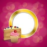 Des Nachtischkuchenblaubeerhimbeerkirschkleinen kuchens des Hintergrundes sahnen abstrakte rosa gelbe Muffins Goldkreis-Rahmenill Stockbild