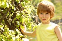 Des Natursommers des kleinen Jungen im Freien naher Baum Lizenzfreies Stockbild