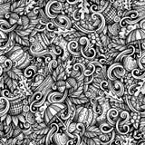 Des netten nahtloses Muster Gekritzel-Herbstes der Karikatur Stockfoto
