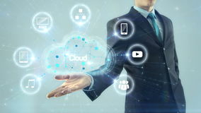 Des Netzwerk-Server-Konzeptgriffdesignentwurfs der Geschäftsmann-Geschäftsmannwolke Datenverarbeitungshintergrund des weißen Lich stock abbildung
