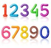 Des nombres sont faits de pâte à modeler colorée photographie stock