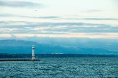 DES Pâquis-Leuchtturmes/PHARE Pâquis - Genf Stockfotos