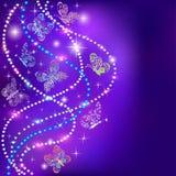 Des papillons et des étoiles d'un fond de bleu avec les pierres précieuses Photographie stock libre de droits
