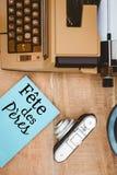 DES peres de la fiesta escrito en el papel Foto de archivo libre de regalías