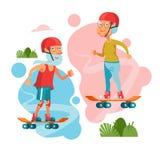 Des personnes plus âgées menant un mode de vie actif Sports de jeu de personnes âgées illustration stock