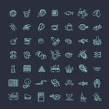 Des poissons et des fruits de mer - décrivez la collection d'icône, vecteur pour le menu de restaurant Photo libre de droits