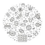 Des poissons et des fruits de mer - décrivez la collection d'icône, vecteur pour le menu de restaurant Images libres de droits