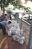 Des poissons sont maintenus dans des sachets en plastique préparant pour être libéré en rivière de Saigon pendant le jour nationa Image stock