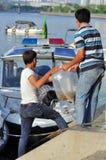 Des poissons sont maintenus dans des sachets en plastique préparant pour être libéré en rivière de Saigon pendant le jour nationa Images libres de droits