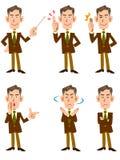 Des poses plus anciennes du ` s 6 d'homme d'affaires ont placé la direction frontale illustration stock