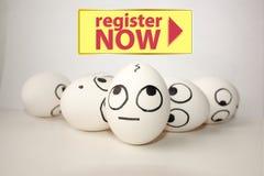 Des Registers Konzept jetzt Lustige Eier stockfotos