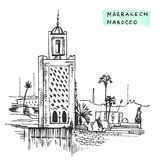 Des Schwarzgebäudes Marrakeschs Marokko Tinten-Vektorillustration Hand gezeichnete Stockfotos