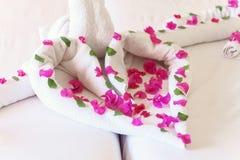Des serviettes blanches cygnes et coeurs tordus Photos libres de droits