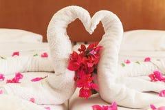 Des serviettes blanches cygnes et coeurs tordus Photo libre de droits