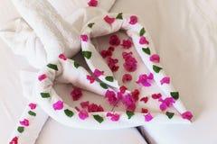 Des serviettes blanches cygnes et coeurs tordus Images libres de droits