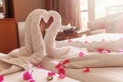 Des serviettes blanches cygnes et coeurs tordus Image stock