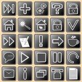 Des Sets weiße Tasten dunkel - mit Web-Ikonen für Stockfoto