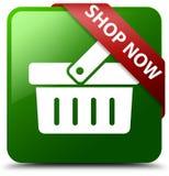Des Shops grüner quadratischer Knopf jetzt Stockfotografie