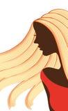 des silhouettes des femmes avec la belle coiffure peuvent être employées comme cartes de visite professionnelle de visite et publ Photographie stock