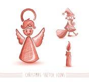 Des Skizzenart-Elementsatzes EPS10 der frohen Weihnachten rote Datei. Stockbilder