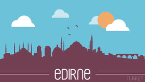 Des Skylineschattenbildes Edirnes die Türkei flache Designillustration stockbilder