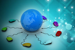Des souris d'ordinateur sont reliées autour du globe Image libre de droits