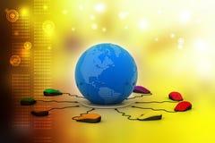 Des souris d'ordinateur sont reliées autour du globe Images libres de droits
