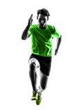 Des Sprinterläufers des jungen Mannes laufendes Schattenbild stockbild