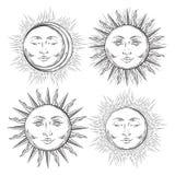 Des Tätowierungsdesigns Boho schicke grelle Kunst-Sonnen- und Halbmondmondsatz Hand gezeichneter stock abbildung