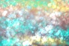 Des T?rkisblaus der Zusammenfassungssteigung gr?ne helle gl?nzende unscharfe Hintergrundbeschaffenheit mit Kreis-bokeh Lichtern i lizenzfreie abbildung
