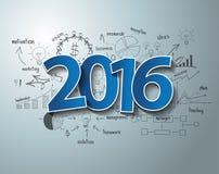 Des Tagaufklebers 2016 des Vektors blaues Textdesign auf GeschäftserfolgStrategieplan Stockfoto