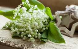 Des Tales auf rustikalem Gewebe lilly blühen Stockfotografie