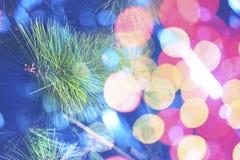 Des Tannenbaums des Weihnachtsneuen Jahres dekorative Lichter lizenzfreie stockbilder