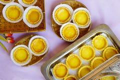 Des tartes sont servis l'angle supérieur capturé Photographie stock libre de droits