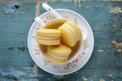 Des tasses de macarons de vanille Photos libres de droits